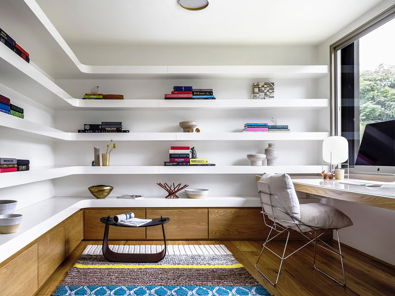 optimize a corner with custom shelves an insight